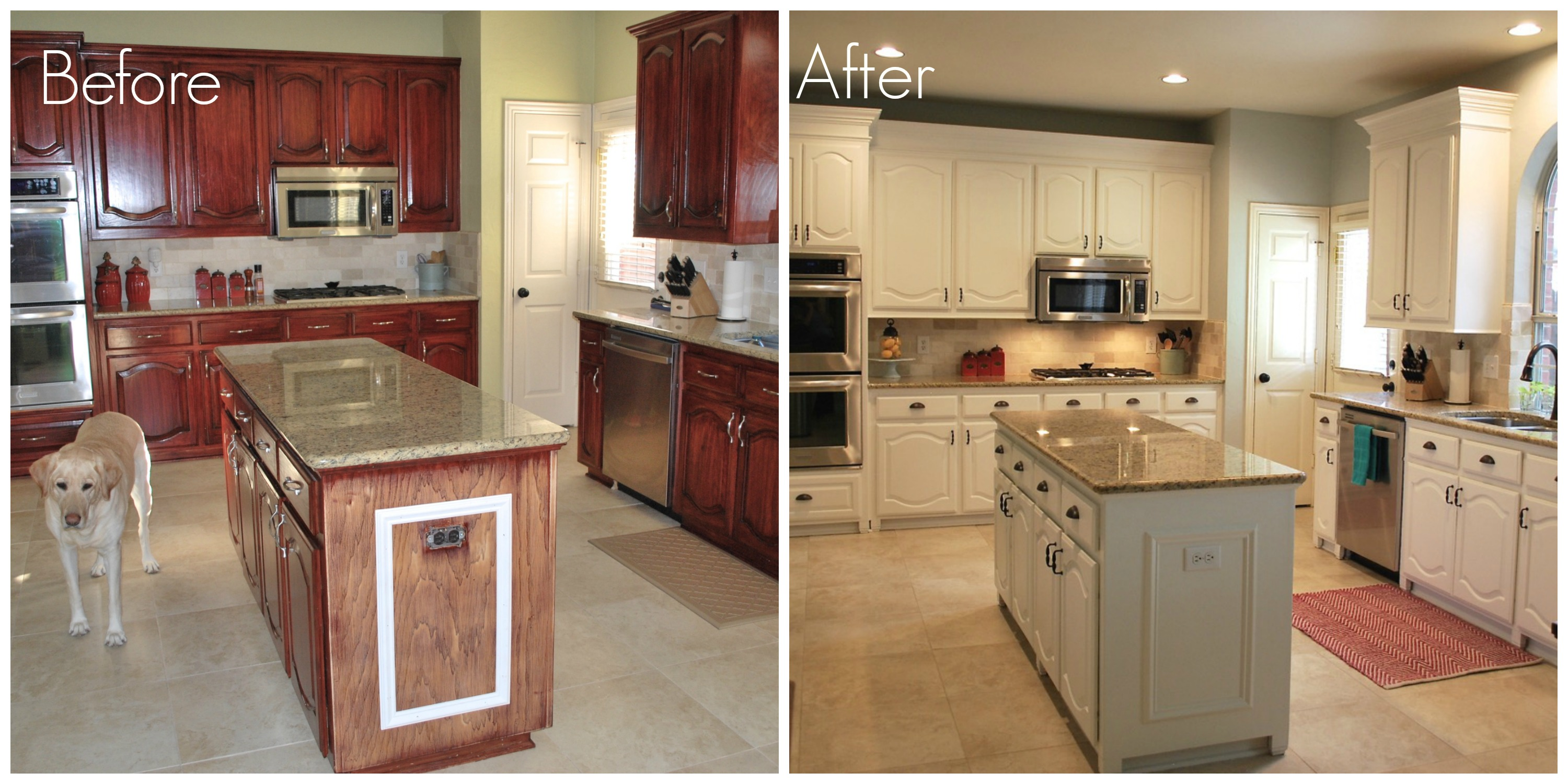 Our kitchen transformation from dark to white beautiful for Kitchen cabinets before and after