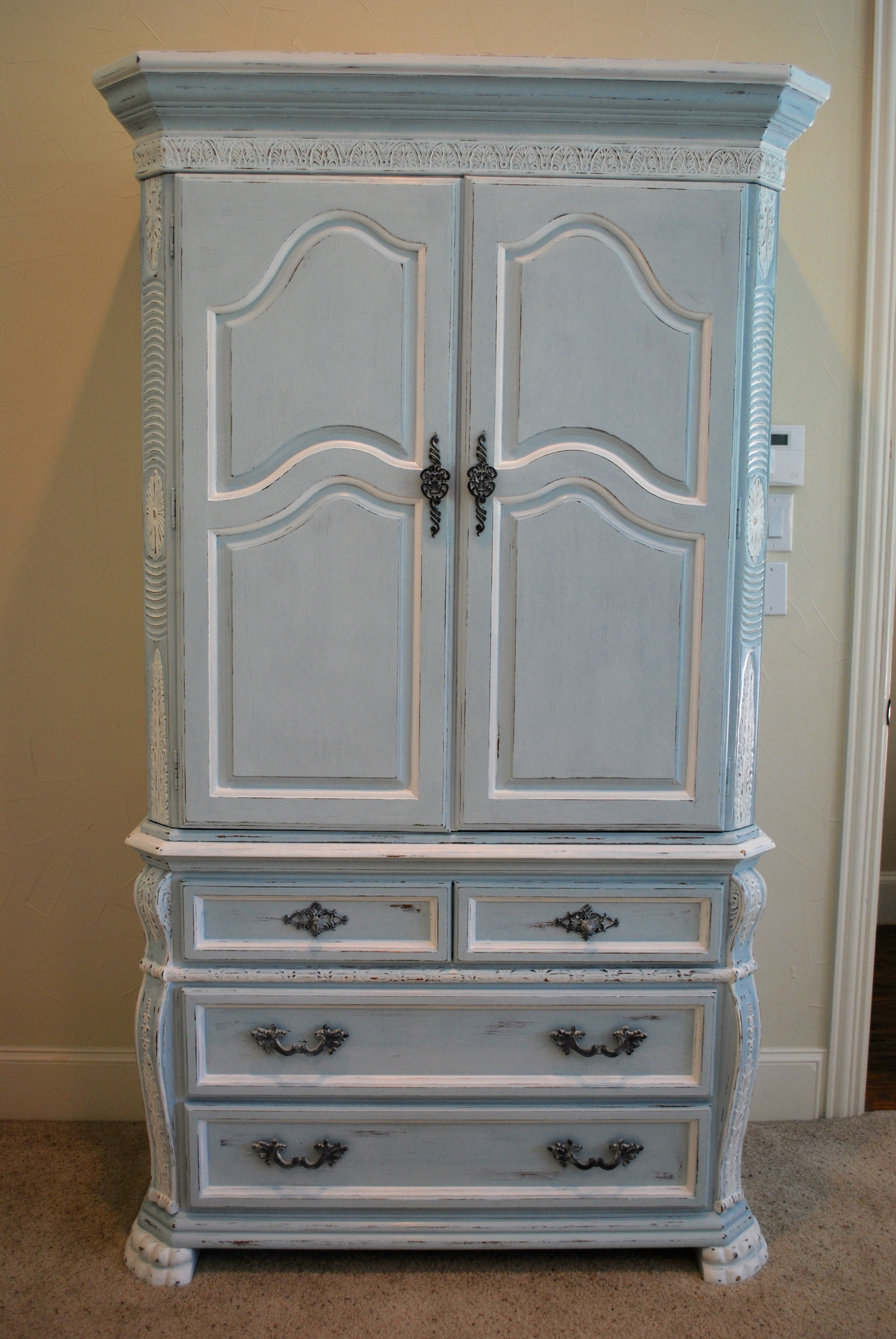 French Blue Armoire Makeover Using Amy Howard One Step Paint Beautiful Branches